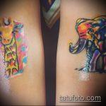 Классный вариант готовой наколки жираф – рисунок подойдет для тату жираф на предплечье