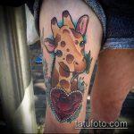 Интересный пример выполненной татуировки жираф – рисунок подойдет для тату жираф на спине