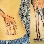 Классный пример нанесенной тату жираф – рисунок подойдет для тату жираф на ноге