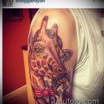 Интересный пример выполненной тату жираф – рисунок подойдет для тату жирафа на спине