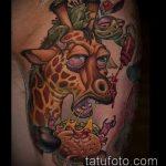 Оригинальный вариант нанесенной наколки жираф – рисунок подойдет для тату жираф на предплечье