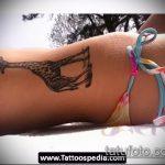 Прикольный вариант готовой татуировки жираф – рисунок подойдет для тату жираф на спине