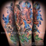 Прикольный вариант выполненной наколки жираф – рисунок подойдет для тату жираф маленькийтату жираф моноцвет