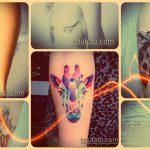 Крутой пример существующей наколки жираф – рисунок подойдет для тату жираф акварель