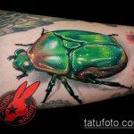 Крутой пример выполненной тату жук – рисунок подойдет для тату жука на руке