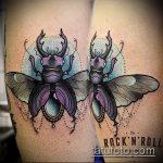 Зачетный пример готовой татуировки жук – рисунок подойдет для тату майский жук