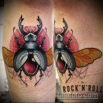 Уникальный пример выполненной татуировки жук – рисунок подойдет для татуировка жук на пальце