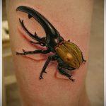 Крутой пример нанесенной татуировки жук – рисунок подойдет для тату жук на руке
