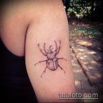 Прикольный пример существующей татуировки жук – рисунок подойдет для тату жук олень