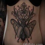 Уникальный пример выполненной тату жук – рисунок подойдет для тату жук скоробей
