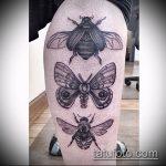 Оригинальный пример существующей наколки жук – рисунок подойдет для тату жука на ноге