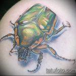 Прикольный пример существующей наколки жук – рисунок подойдет для тату жуки