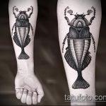 Интересный вариант существующей тату жук – рисунок подойдет для тату майский жук