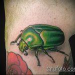 Крутой вариант нанесенной татуировки жук – рисунок подойдет для тату жук олень