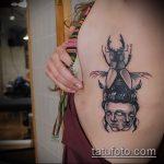 Уникальный пример нанесенной тату жук – рисунок подойдет для тату жук носорог