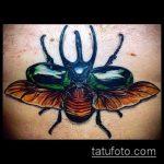 Крутой вариант существующей татуировки жук – рисунок подойдет для тату жука скарабей