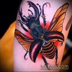 Зачетный пример нанесенной татуировки жук – рисунок подойдет для тату жук ёжик