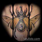 Интересный вариант существующей наколки жук – рисунок подойдет для тату жук олень