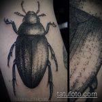 Прикольный пример выполненной тату жук – рисунок подойдет для тату жук ёжик