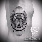 Интересный вариант выполненной татуировки жук – рисунок подойдет для тату жук скарабей