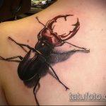 Уникальный пример существующей татуировки жук – рисунок подойдет для тату жука скарабея