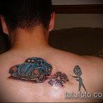 Классный пример нанесенной тату жук – рисунок подойдет для тату майский жук