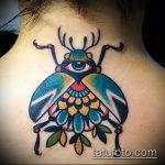 Зачетный вариант существующей татуировки жук – рисунок подойдет для тату жук из буквы