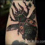 Интересный пример готовой тату жук – рисунок подойдет для татуировка жук на руке