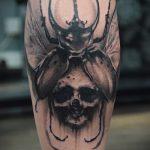 Уникальный вариант готовой татуировки жук – рисунок подойдет для тату жука скарабея