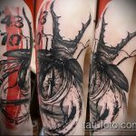 Крутой вариант выполненной татуировки жук – рисунок подойдет для тату жук носорог