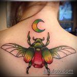 Оригинальный пример существующей татуировки жук – рисунок подойдет для тату жук олень