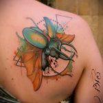 Прикольный пример существующей татуировки жук – рисунок подойдет для татуировка жук на пальце