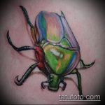Прикольный вариант нанесенной тату жук – рисунок подойдет для тату жук олень