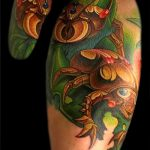 Интересный пример существующей татуировки жук – рисунок подойдет для тату жук скарабей
