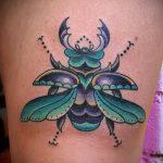 Прикольный пример готовой наколки жук – рисунок подойдет для тату жуки