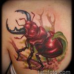 Прикольный вариант готовой татуировки жук – рисунок подойдет для тату жук носорог