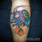 Прикольный пример нанесенной наколки жук – рисунок подойдет для тату жука на руке