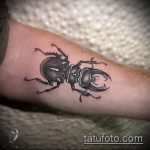 Классный пример существующей тату жук – рисунок подойдет для тату жук на плече