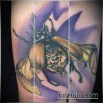 Зачетный вариант готовой наколки жук – рисунок подойдет для татуировка жук на руке