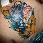 Прикольный пример выполненной тату жук – рисунок подойдет для тату жук на руке