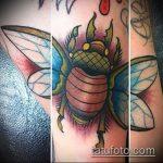 Классный вариант нанесенной татуировки жук – рисунок подойдет для тату жука на запястье