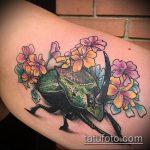Крутой пример существующей тату жук – рисунок подойдет для тату жук носорог
