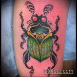 Зачетный пример существующей тату жук – рисунок подойдет для тату жук носорог