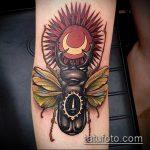 Прикольный вариант нанесенной татуировки жук – рисунок подойдет для тату жуки