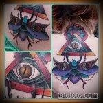 Крутой пример выполненной татуировки жук – рисунок подойдет для тату жука на запястье