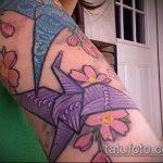 Оригинальный вариант готовой тату журавль – рисунок подойдет для тату журавлик из бумаги