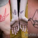 Уникальный пример нанесенной татуировки журавль – рисунок подойдет для тату журавлик оригами