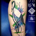 Зачетный вариант выполненной тату журавль – рисунок подойдет для тату журавль япония