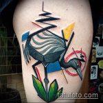 Классный вариант нанесенной тату журавль – рисунок подойдет для тату журавлик оригами на шее