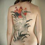 Интересный пример выполненной татуировки журавль – рисунок подойдет для тату журавлик оригами